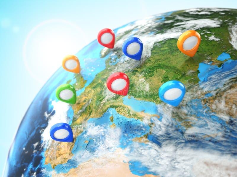 Het concept van de reisbestemming Speld ter wereld nearsighted vector illustratie