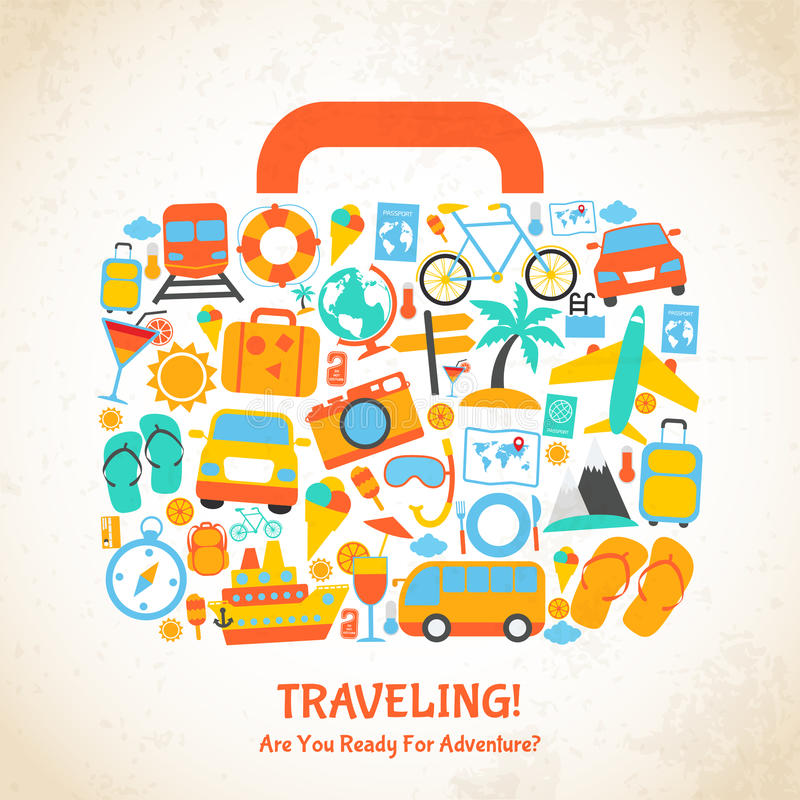 Het concept van de reiskoffer royalty-vrije illustratie