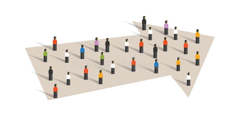 Het concept van de richtingspijl de groep van de leidingsmenigte kleine mensen samen samenwerking tussen bedrijven vector illustratie