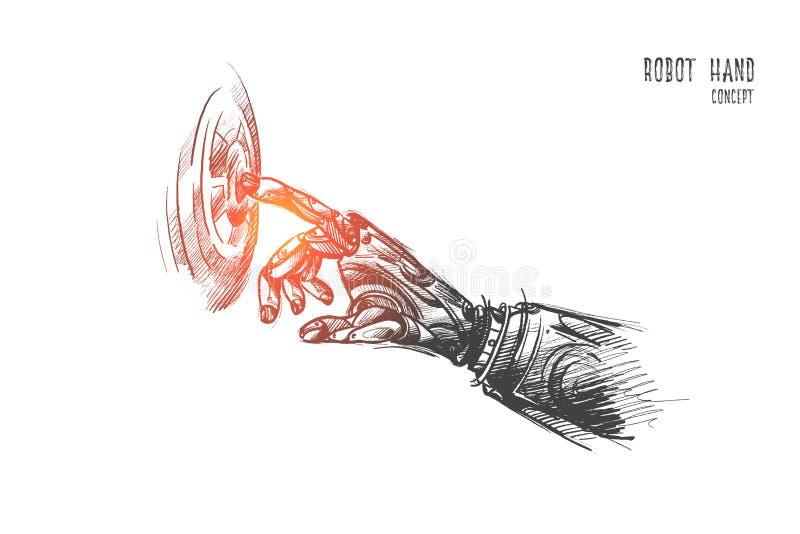 Het concept van de robothand Hand getrokken vector stock illustratie