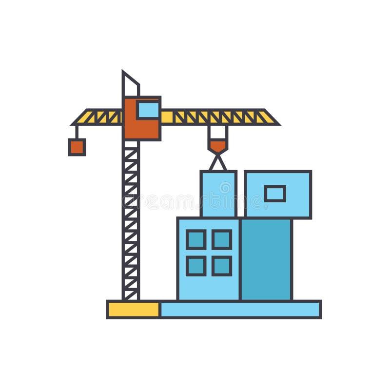 Het concept van het de rooilijnpictogram van de bouwkraan Bouwkraan die vlak vectorteken, symbool, illustratie bouwen vector illustratie
