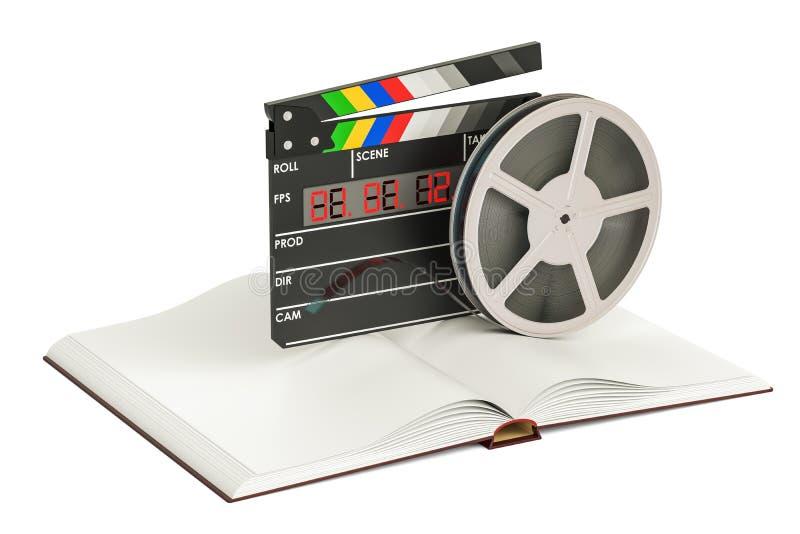 Het concept van de scenariofilm Boek met filmreizen en clapperboard, vector illustratie