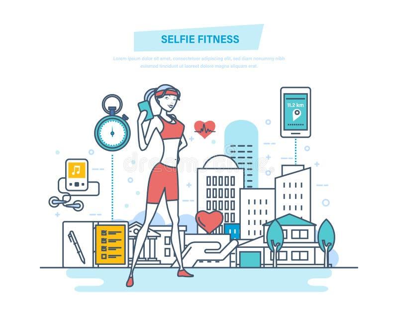Het concept van de Selfiegeschiktheid, levensstijl Geschiktheidsklassen, gezonde levensstijl, yoga vector illustratie
