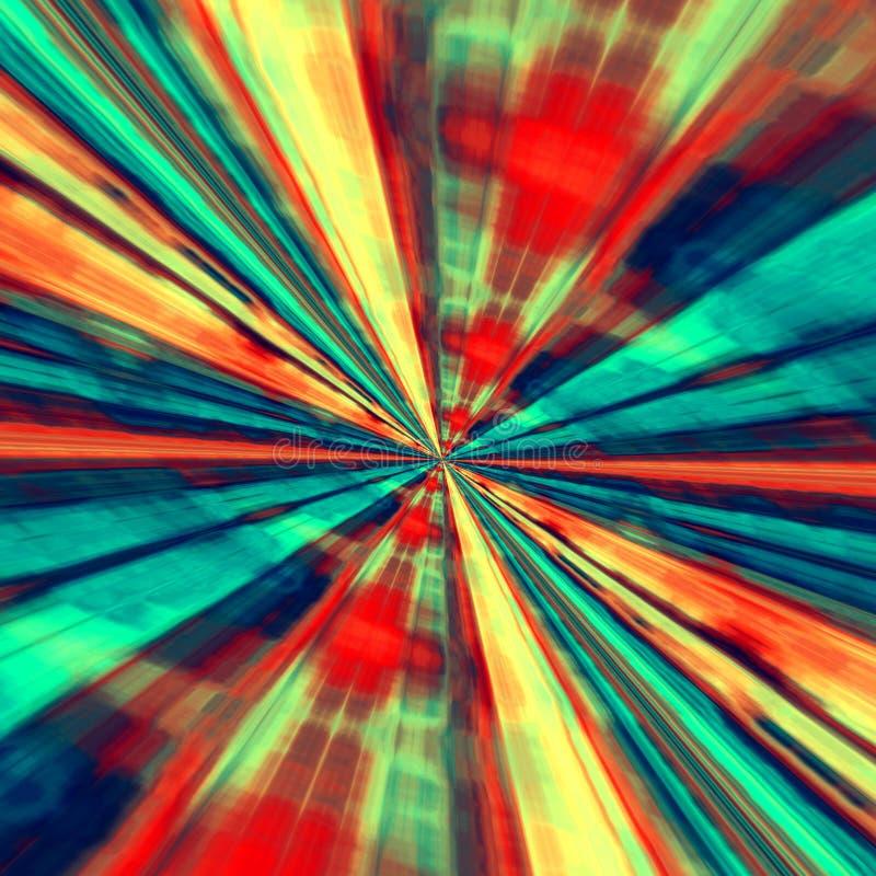 Het concept van de snelheid Abstract Digitaal Art Blauwe Rode Achtergrond Fractal Tunnel Futuristische Fantasieillustratie Modern royalty-vrije stock foto