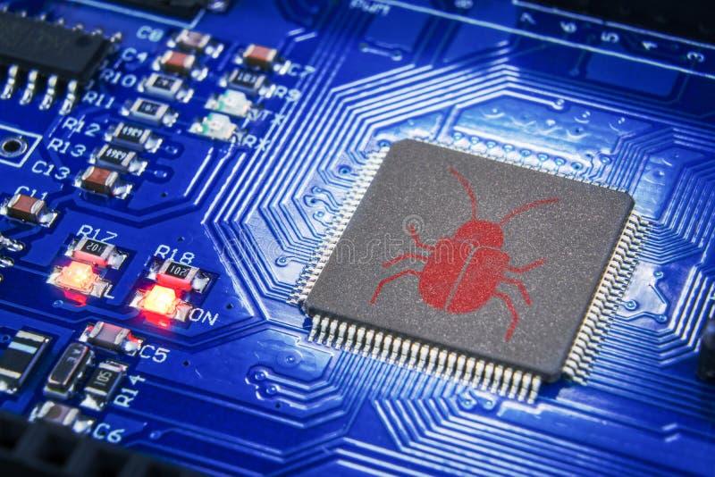 Het concept van de softwareveiligheid Fouten in het programma Insecten in het programma De aanwezigheid van heimelijk, rootkit royalty-vrije stock afbeeldingen