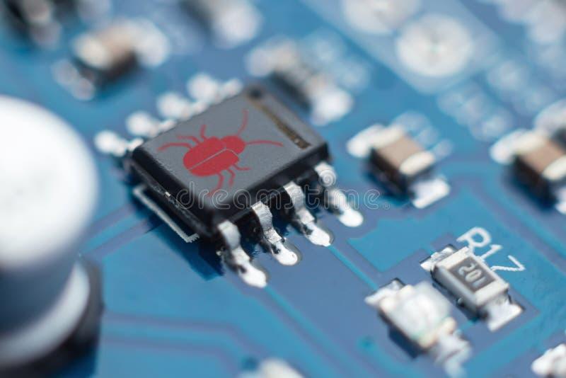 Het concept van de softwareveiligheid Fouten in het programma Insecten in het programma De aanwezigheid van heimelijk, rootkit 1 stock foto