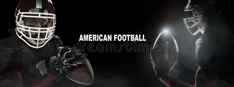Het concept van de sport De Amerikaanse speler van de voetbalsportman op zwarte achtergrond met exemplaarruimte Het concept van d royalty-vrije stock fotografie