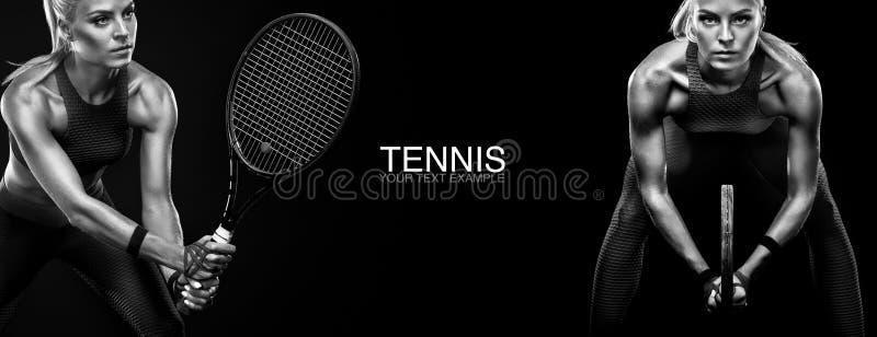 Het concept van de sport Het tennisspeler van de sportenvrouw met een racket De ruimte van het exemplaar De Zwart-witte foto van  royalty-vrije stock afbeelding