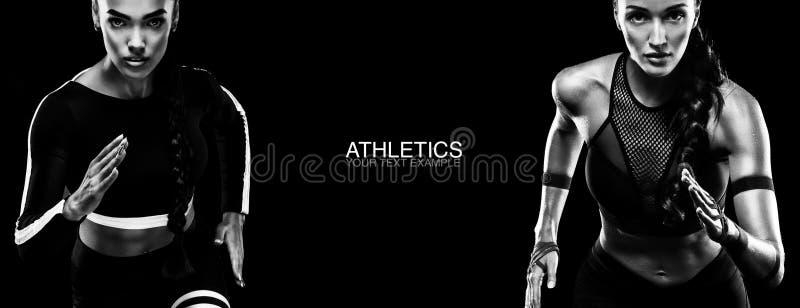 Het concept van de sport De Zwart-witte foto van Peking, China Sterke atletisch, vrouwensprinter, lopen geïsoleerd op zwarte, die stock afbeelding