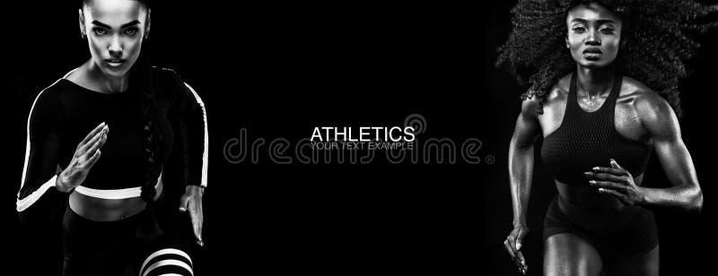 Het concept van de sport De Zwart-witte foto van Peking, China Sterke atletisch, vrouwensprinter, lopen geïsoleerd op zwarte, die stock foto's