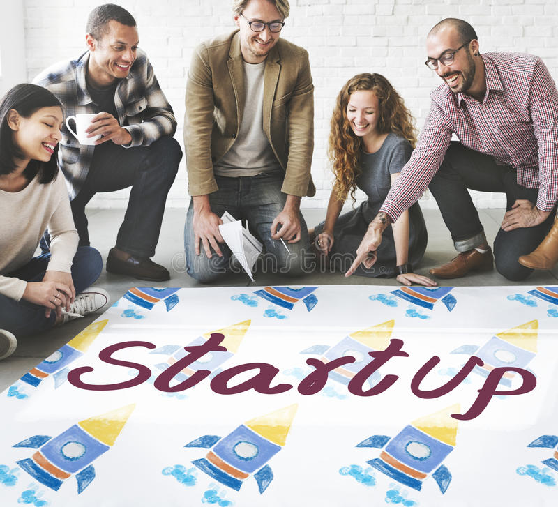 Het Concept van de startlancerings Bedrijfsstrategieontwikkeling stock afbeeldingen