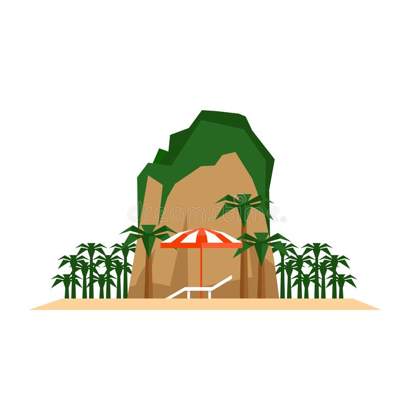 het concept van de strandvakantie Chaise-longue, strandparaplu en keerkring royalty-vrije illustratie