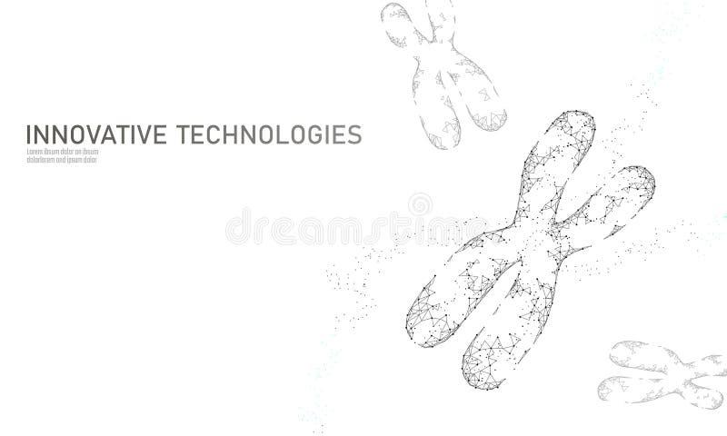 Het concept van de de structuurgeneeskunde van chromosoomdna De lage poly veelhoekige van de de therapiebehandeling van het drieh stock illustratie
