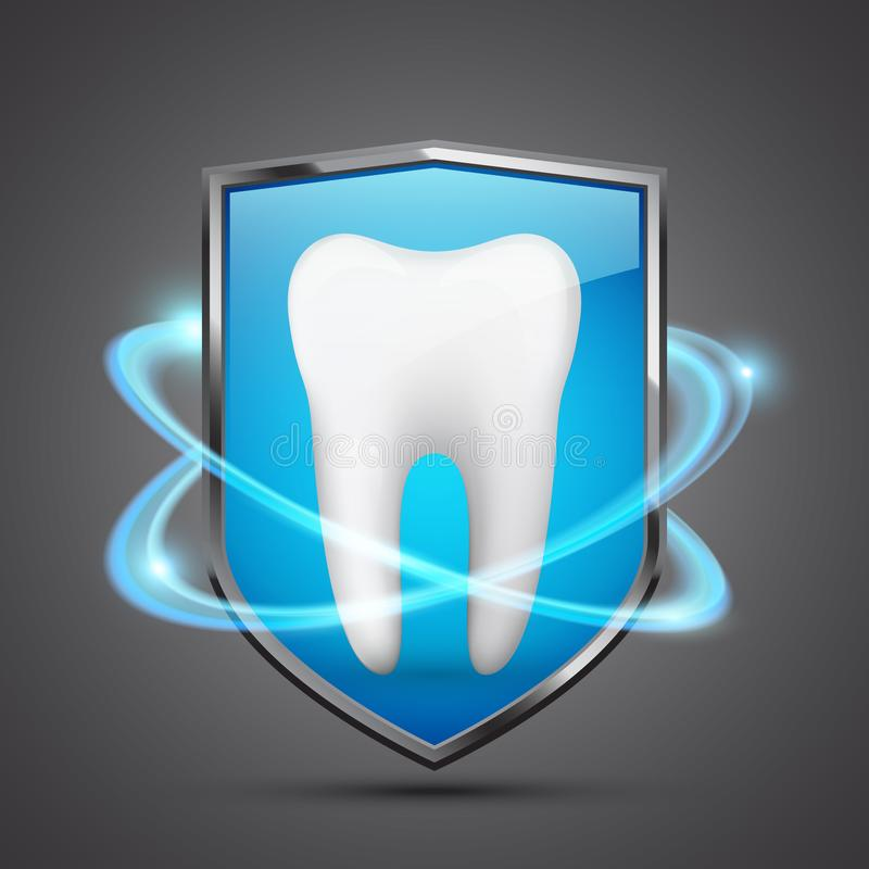 Het concept van de tandbescherming, gezonde tand binnen het schild stock illustratie