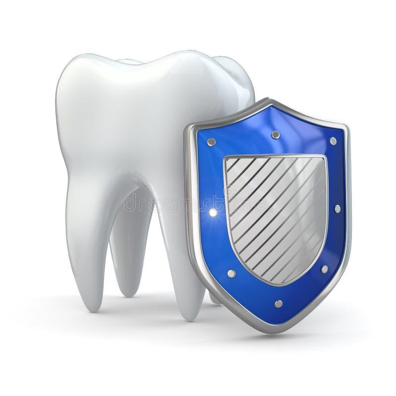 Het concept van de tandenbescherming. Schild en tand. stock illustratie
