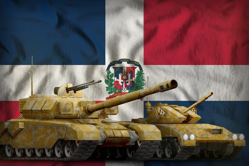 Het concept van de tankkrachten van de Dominicaanse Republiek tanks met oranje camouflage op vlagachtergrond 3D Illustratie royalty-vrije illustratie