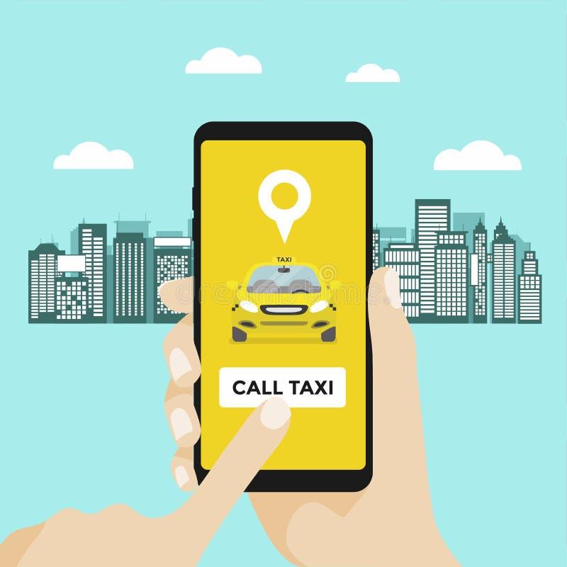 Het concept van de taxidienst Hand met smartphone App op het scherm van de mobiele telefoon royalty-vrije illustratie