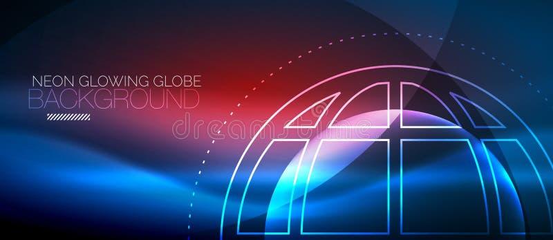 Het concept van de Technobol, de planeet van de neongloed vector illustratie
