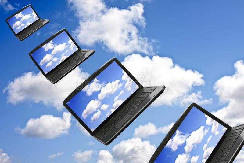 Het Concept van de Technologie van de Gegevensverwerking van de wolk royalty-vrije stock foto's