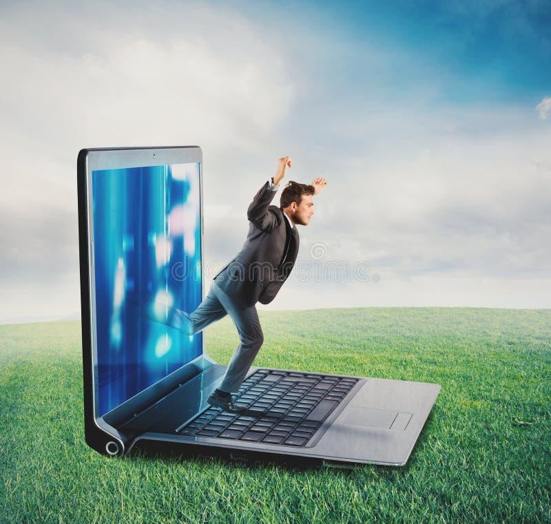 Het concept van de technologieverslaving stock afbeelding