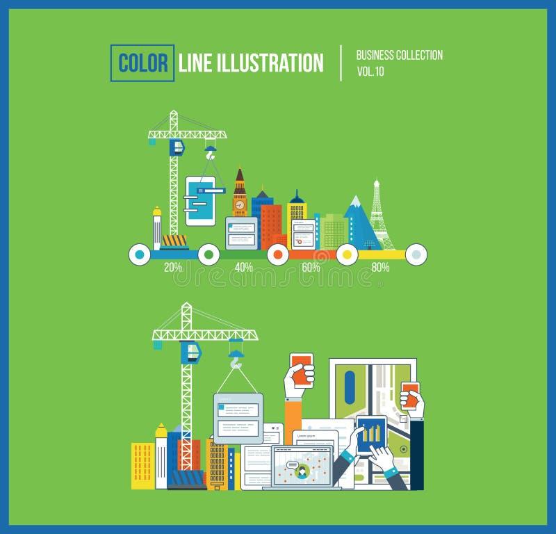 Het concept van de toepassingsontwikkeling voor e-business, mobiele toepassingen, banners stock illustratie