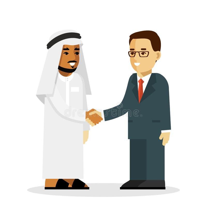 Het concept van de transactiehanddruk met Saoediger - Arabische en Europese zakenmankarakters in vlakke die stijl op wit wordt ge vector illustratie