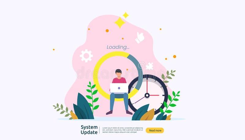 het concept van de de updatevooruitgang van het verrichtingssysteem de gegevens synchroniseren proces en installatieprogramma het vector illustratie