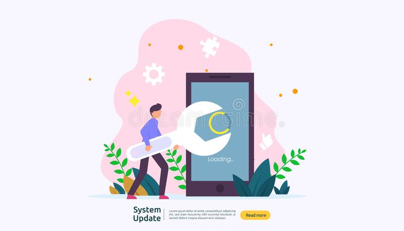 het concept van de de updatevooruitgang van het verrichtingssysteem de gegevens synchroniseren proces en installatieprogramma het stock illustratie