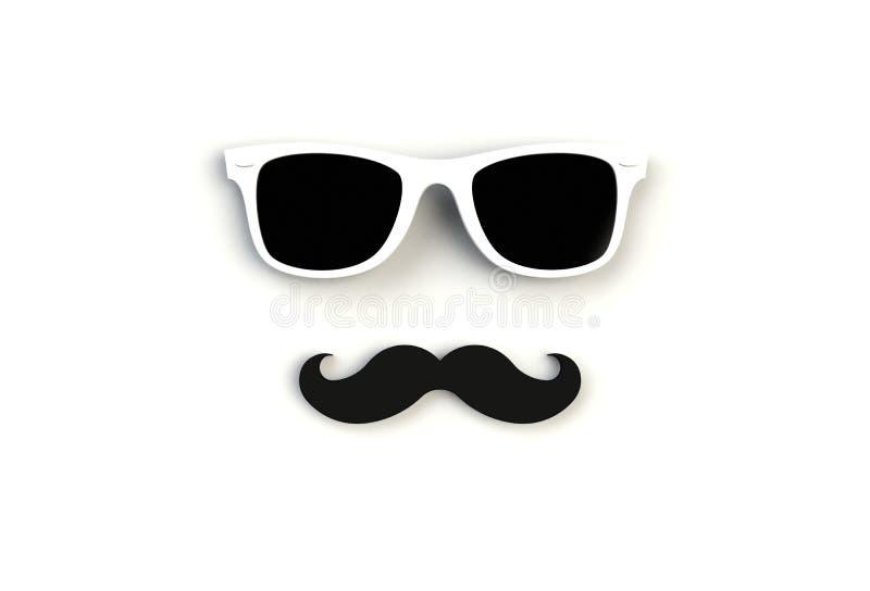 Het Concept van de vader` s Dag Hipster witte zonnebril en grappige snor op witte achtergrond vector illustratie