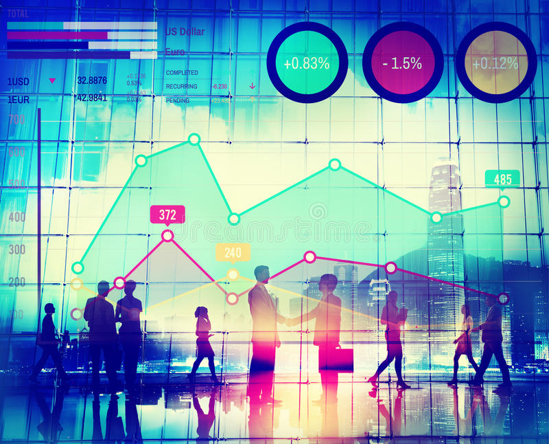 Het Concept van de van de bedrijfs financiëngroei Marketing Succesanalyse stock afbeelding