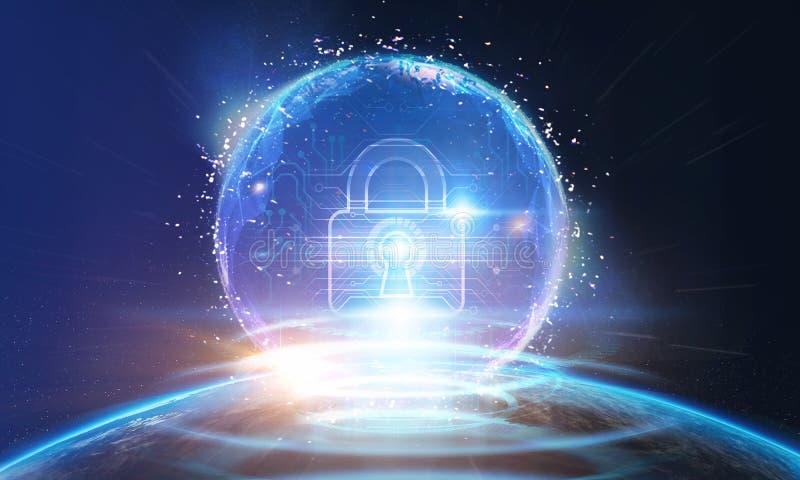 Het Concept van de Veiligheid van Cyber Gesloten Hangslot op digitale achtergrond royalty-vrije stock foto