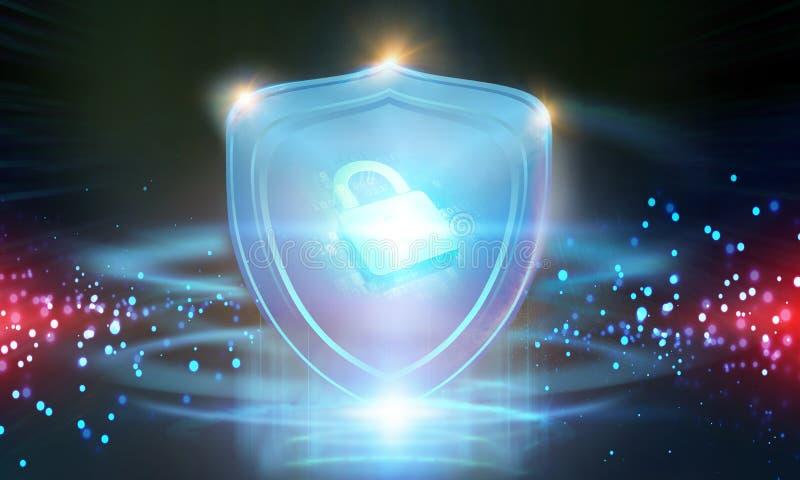 Het Concept van de Veiligheid van Cyber Gesloten Hangslot op digitale achtergrond royalty-vrije stock afbeelding