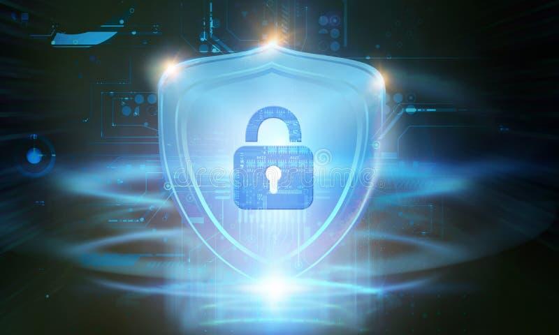 Het Concept van de Veiligheid van Cyber Gesloten Hangslot op digitale achtergrond stock foto's