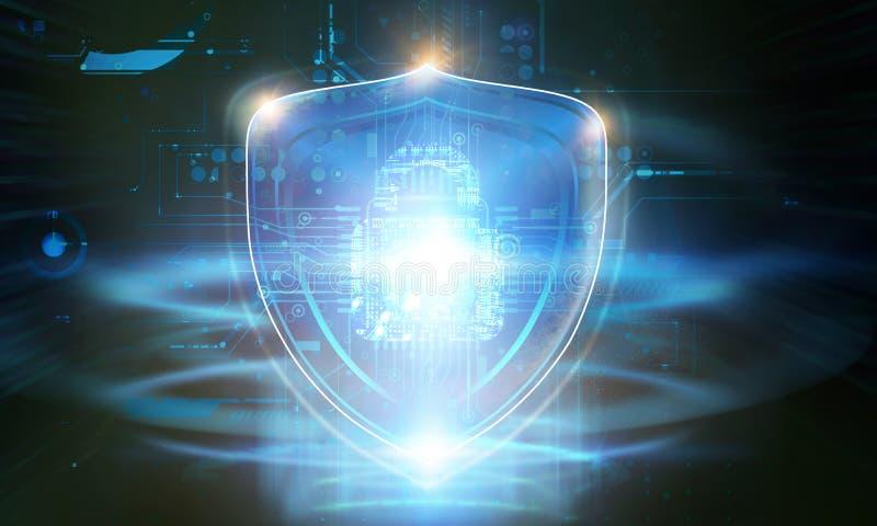 Het Concept van de Veiligheid van Cyber Gesloten Hangslot op digitale achtergrond stock afbeeldingen