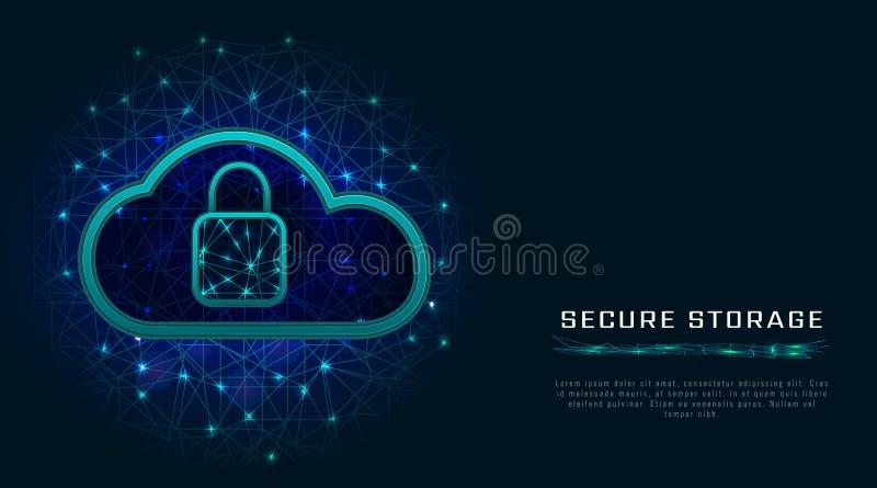 Het Concept van de Veiligheid van Cyber De technologie van de wolkengegevensbescherming met hangslotsymbool op abstracte lage pol vector illustratie