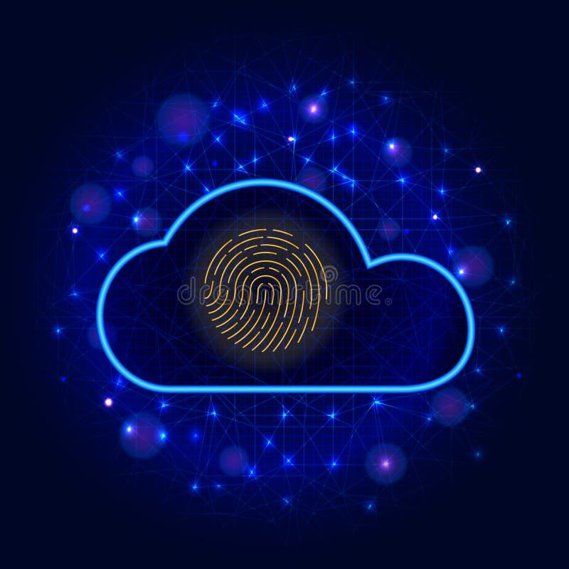 Het Concept van de Veiligheid van Cyber Wolken cyber gegevensbescherming met het biometrische pictogram van de vingerafdrukscanne stock illustratie
