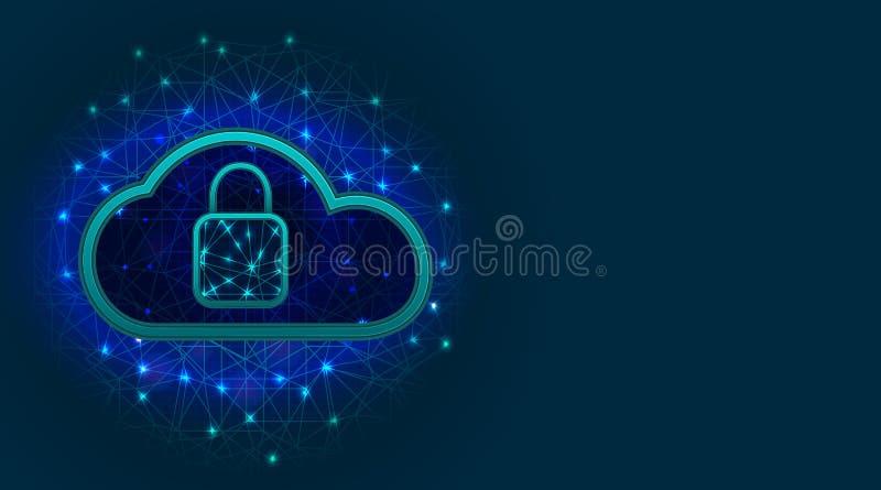 Het Concept van de Veiligheid van Cyber Wolkenopslag met gegevensbeschermingtechnologie, hangslotpictogram op abstracte veelhoeki royalty-vrije illustratie