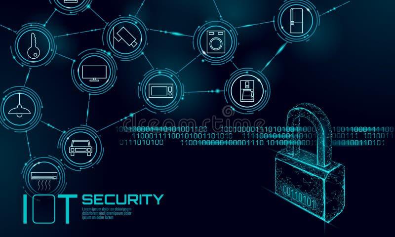 Het concept van het de veiligheidshangslot van IOT cyber persoonsgegevensveiligheid Internet van aanval van het Dingen de slimme  royalty-vrije illustratie