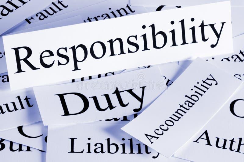 Het Concept van de verantwoordelijkheid stock afbeeldingen