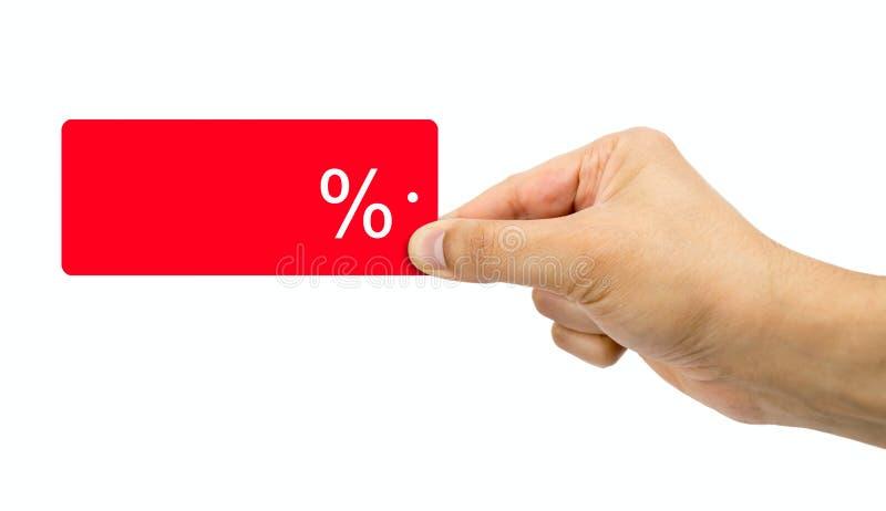 Het concept van de verkoop - hand met vergrootglas stock foto