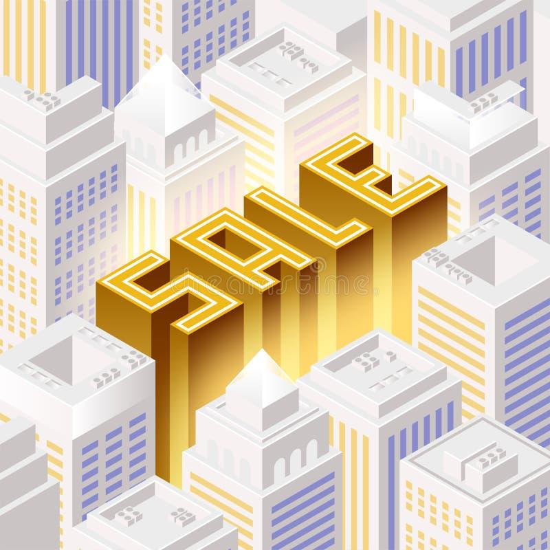 Het concept van de verkoop - hand met vergrootglas Cityscape stock illustratie