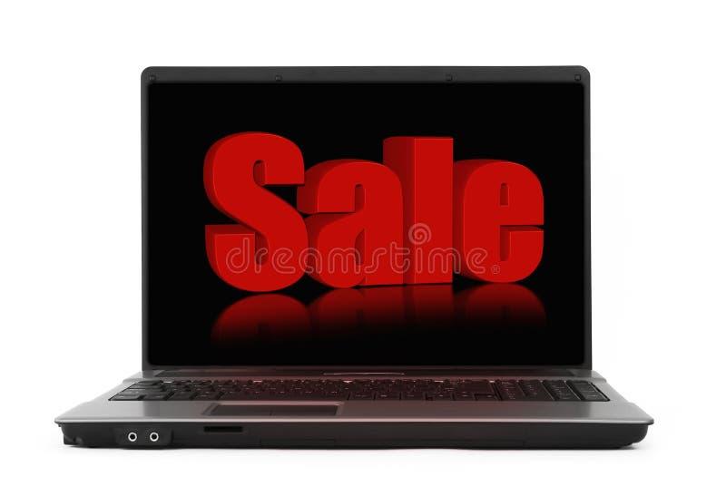 Het concept van de verkoop op het notitieboekjescherm stock afbeelding