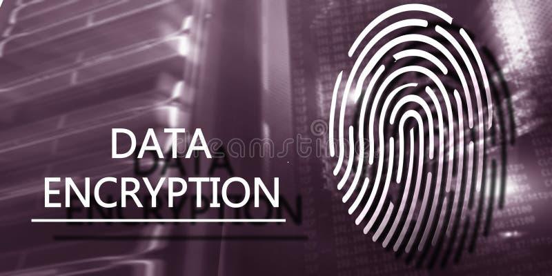 Het concept van de vingerafdrukbescherming: Gegevensversleuteling op digitale supercomputerachtergrond royalty-vrije stock foto