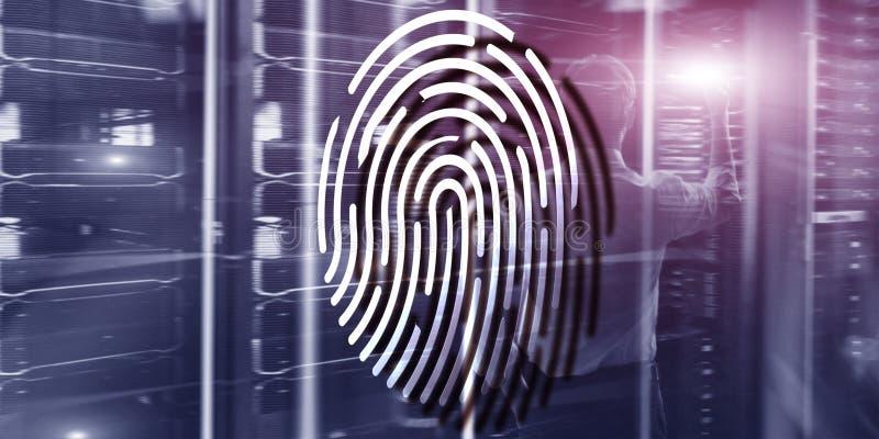 Het concept van de vingerafdrukbescherming: Gegevensversleuteling op digitale supercomputerachtergrond royalty-vrije illustratie