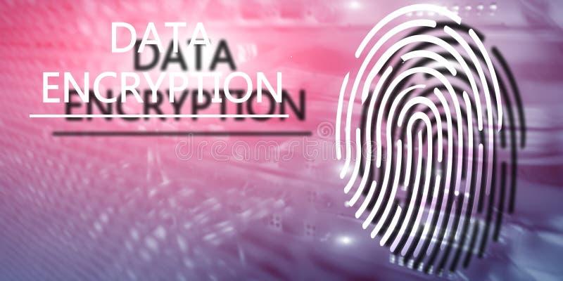Het concept van de vingerafdrukbescherming: Gegevensversleuteling op digitale supercomputerachtergrond stock fotografie