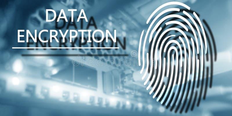 Het concept van de vingerafdrukbescherming: Gegevensversleuteling op digitale supercomputerachtergrond stock afbeeldingen