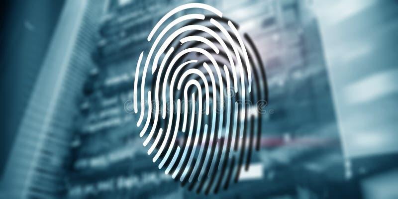 Het concept van de vingerafdrukbescherming: Gegevensversleuteling op digitale supercomputerachtergrond royalty-vrije stock fotografie