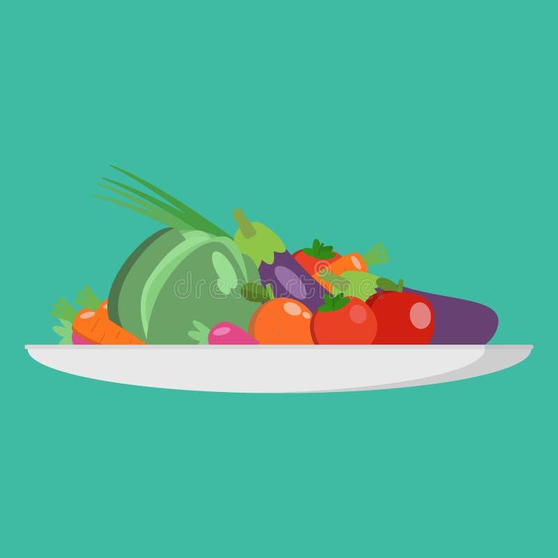 Het concept van de voedselkeus Verse product-groenten vegetables Conceptendieet - plaat met vruchten en organische groenten Illus vector illustratie
