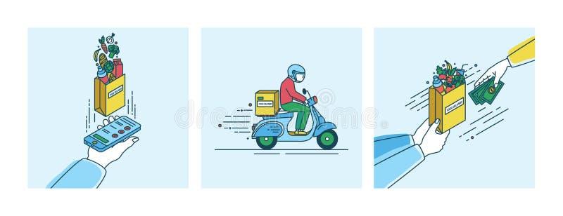 Het concept van de voedsellevering Lineartillustratie die in vlakke stijl wordt geplaatst stock illustratie
