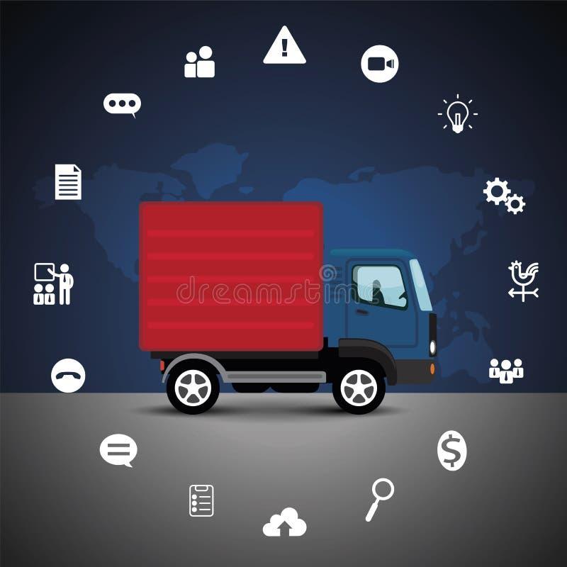 Het concept van de vrachtwageninterface met de achtergrond van de wereldkaart vector illustratie